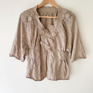Anthro Knitted & Knotted Thicket Flower Cardigan